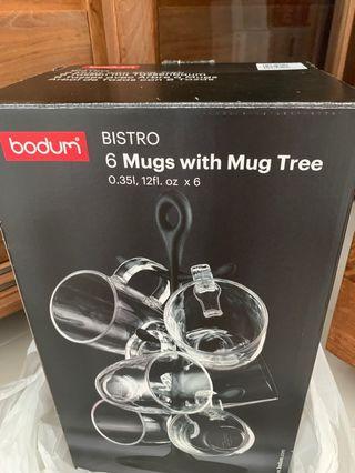 🚚 Bodum 6 mugs with Mug tree