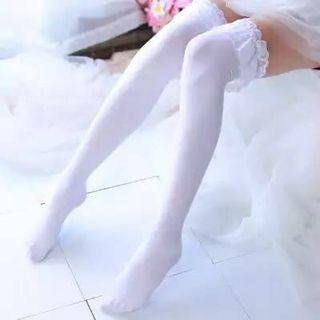Lolita white lace socks stockings OTK