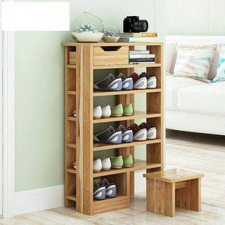 6 Tiers European Style Shoe Cabinet With Stool