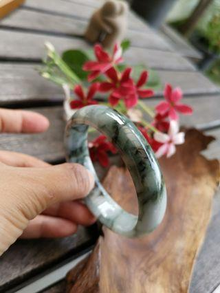New Jadeite Floral Floating Bangle 59mm