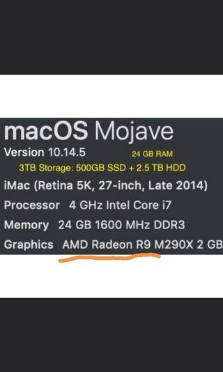 """iMac 5K 27"""" 2014 i7, Radeon, 24GB, 3TB /w SSD: hardly noticeable chip mended"""
