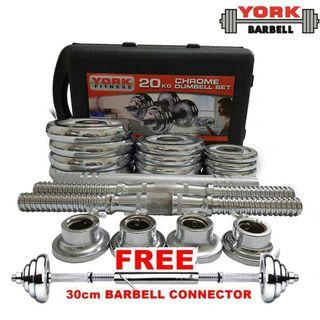Adjustable 20 KG Dumbbell Set And 30 CM Barbell Connector With Box