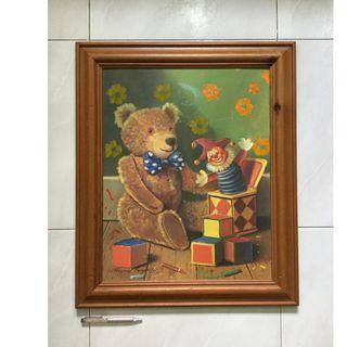 """Framed Art print — """"Teddy and Clown"""""""