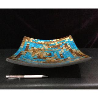 Ceramic plate with glass mosaic art