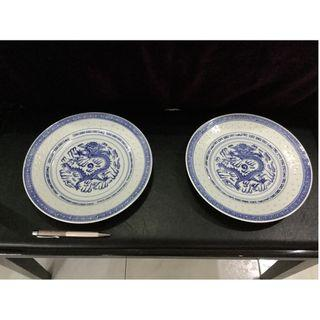 Chinese blue and white big porcelain plates