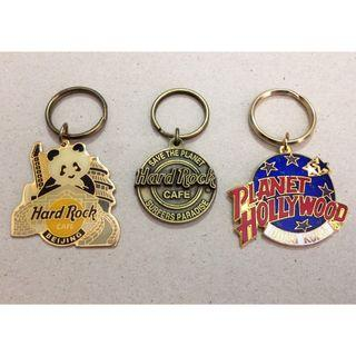 Collectibles! HARD ROCK CAFE & PLANET HOLLYWOOD Metallic Key-Chains (Fixed Price)