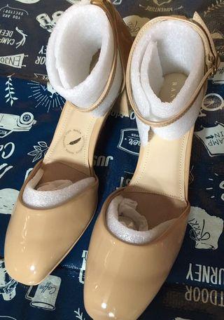 Randa 日系全新PU 杏色OL 出街舒適穩陣有踭涼鞋 cotton steps 前掌位置有軟墊