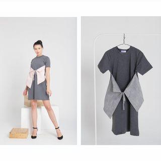 Tied up dress (abu-abu)