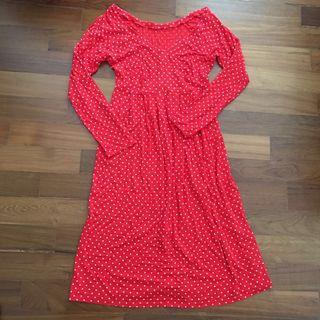Red long sleeve polka dot dress #JunePayDay60