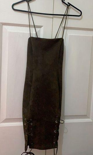 khaki suede lace dress