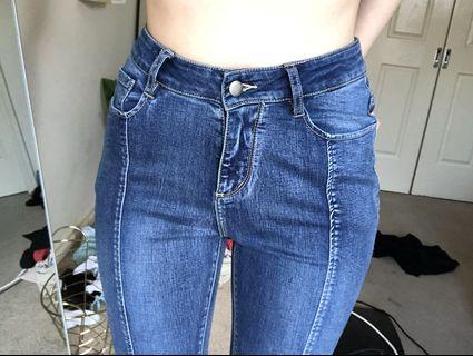 Dark Blue Jeans with Panelling