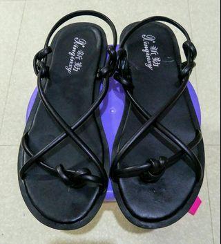 羅馬 黑色  扭結 涼鞋