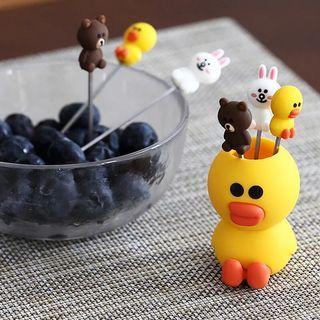 🚚 二手沒有盒子水果叉套裝創意可愛卡通家用不鏽鋼簽果插韓國兒童硅膠安全小叉子
