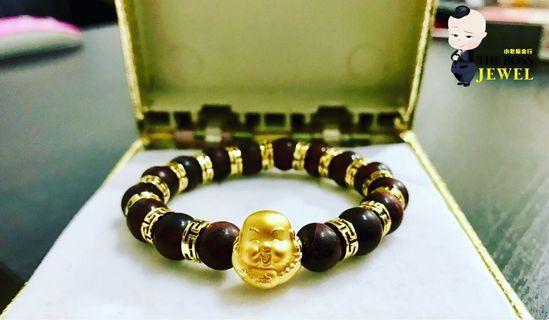 Customised 999 Gold Buddha Charm Bracelet