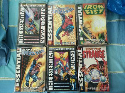 🚚 Marvel Essential B&W trade paperbacks Amazing Spider-Man, Iron fist, Uncanny X-men, Dr Strange