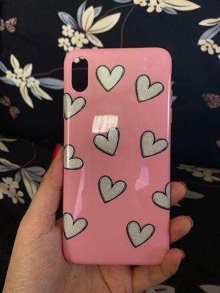 Iphone XS Max Case Silver hearts