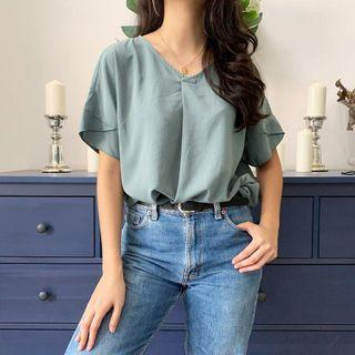 Dusty green top / blouse