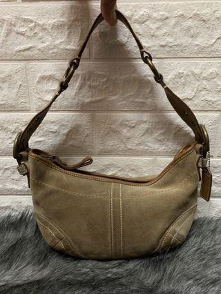 Coach Camel color Small Suede Leather Shoulder Bag Purse