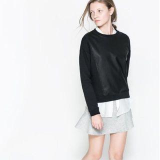 Zara Combination Faux Leather Sweatshirt