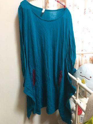 Alasha藍綠色長版薄上衣