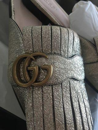 Gucci backless 無踭鞋 銀色 Made in Italy