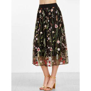 Black Embroidered Laced Skirt