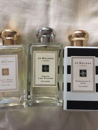 Authentic Jo Malone perfumes pomegranate noir green almond red currant french lime blossom whitemoss snowdrops