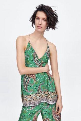 Green Paisley Print Sleeveless Top Zara style