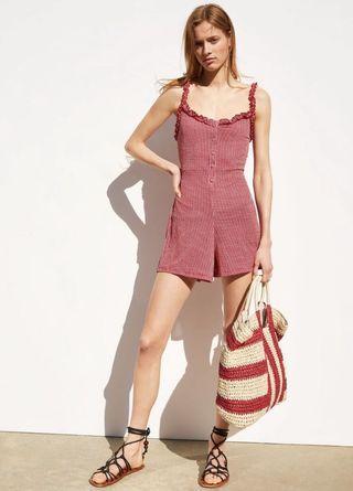 Red Gingham Ruffle Romper Zara style