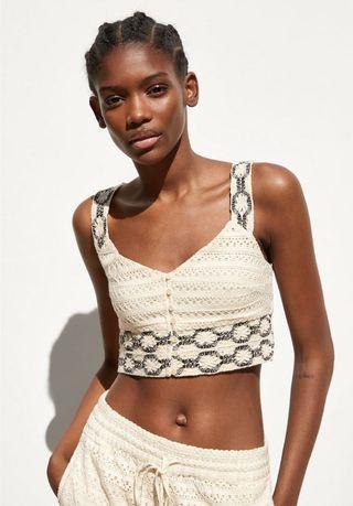 Crochet Sleeveless Crop Top Zara style