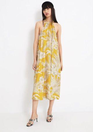 Yellow Halter Floral Maxi Dress Zara style