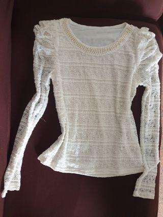 KOKASSO beige long sleeves lace top