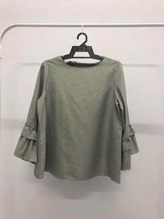 Bell Sleeves Top Dusty Green