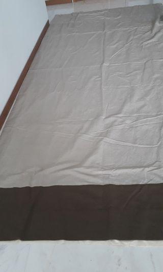 2 LINEN extra long curtain in Beige and Dark brown