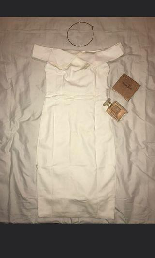 NYLA SABRINA WHITE DRESS ONE SHOULDER