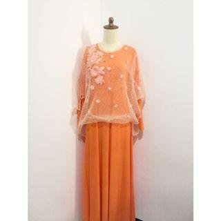 Baju muslim dress gaun busui orange