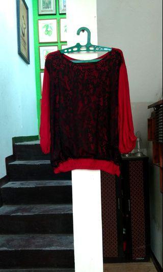 Kaos atasan with Lace accent big size jumbo