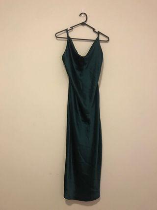 Dark green satin slip dress
