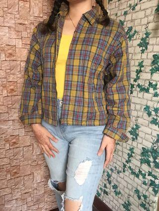 Yellow zip plaid jacket