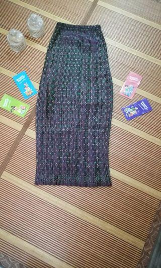 Pencil Skirt - Warna Hijau + Ungu - Free size