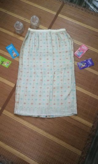 Skirt Songket - Saiz 48-50 - Warna light yellow + blue + orange