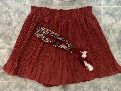 Red Elastic Waist Skorts