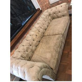 Used light brown chesterfiled sofa 3 seater.