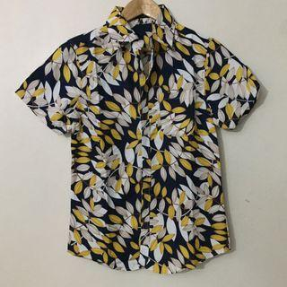 Printed Blue &Yellow Button Down