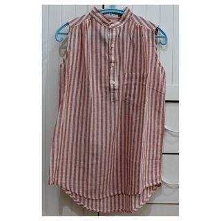 This Is April Salmon Pink Stripes Blouse