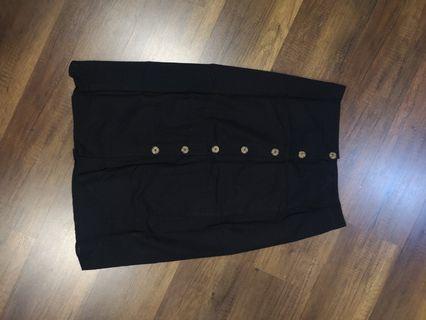 Black midi button up skirt