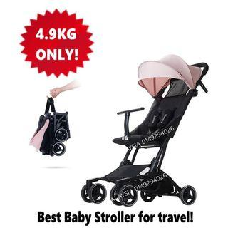 WARMBABY Aluminium Ultralight Portable Weight Compact Baby Stroller Travel Stroller Pockit Pocket Stroller Compact