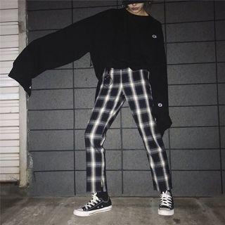 全新🌸韓版顯瘦百搭格子寬褲