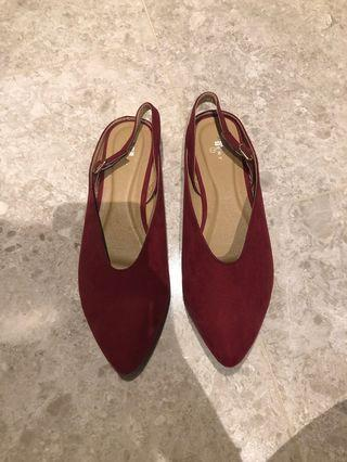 Maroon Point Slip On / Sling Back Heeled Flats/Mules