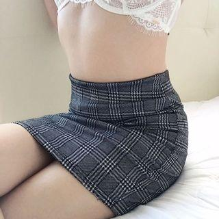 🚚 sexy bodycon gingham houndstooth skirt